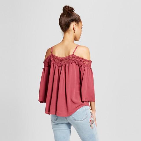 5376edbc4962c Women s Lace-Trim Cold Shoulder Top - Xhilaration™ (Juniors )   Target