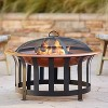"""John Timberland Copper and Black Outdoor Fire Pit Round 30"""" Steel Wood Burning with Spark Screen and Fire Poker for Backyard Patio Camping - image 2 of 4"""