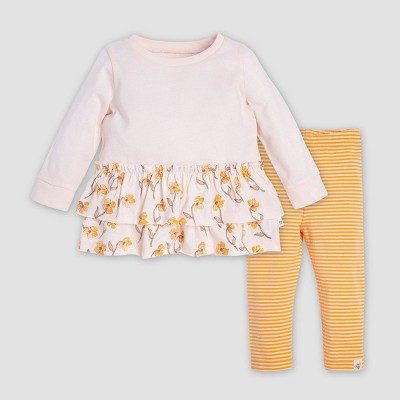 Burt's Bees Baby® Baby Girls' Windy Floral Organic Cotton Tunic & Leggings Set - Yellow 6-9M