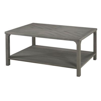 42  Wood Chevron Coffee Table Gray - Saracina Home