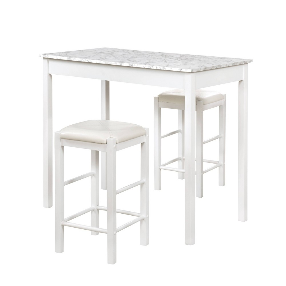 3pc Lancer Tavern Counter Height Table Dining Sets Faux Marble White Linon