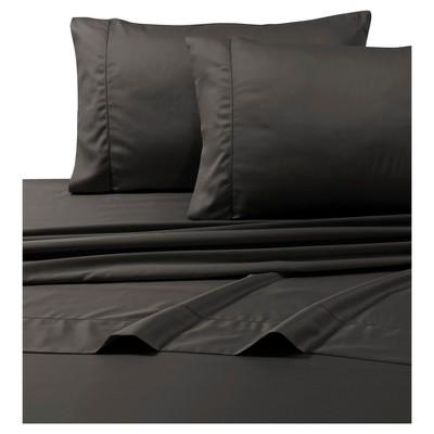 Egyptian Cotton Sateen Deep Pocket Solid Sheet Set (King)4pc Steel 800 Thread Count - Tribeca Living®