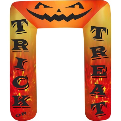 Gemmy Projection Airblown Archway Kaleidoscope Trick or Treat (RRY), 8 ft Tall, orange