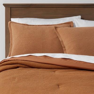 Full/Queen Washed Waffle Weave Comforter & Sham Set Caramel - Threshold™