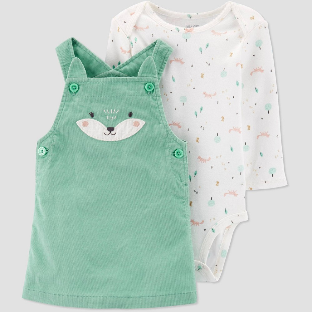 Baby Girls' 2pc Fox Top & Bottom Sets - Just One You made by carter's Green/White Newborn