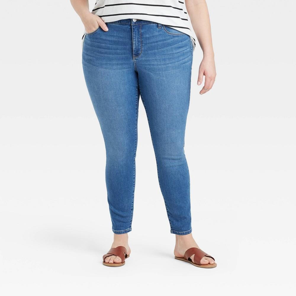 Women 39 S Plus Size Mid Rise Skinny Jeans Ava 38 Viv 8482 Light Wash 22w