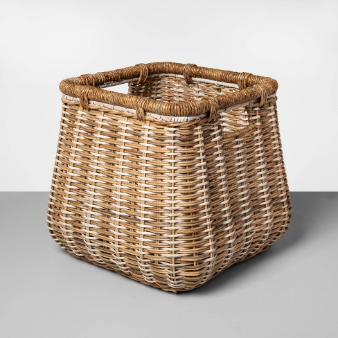 """Large Rounded Square Basket Natural with Accents 14.5""""x16.5"""" - Threshold™ - image 1 of 1"""
