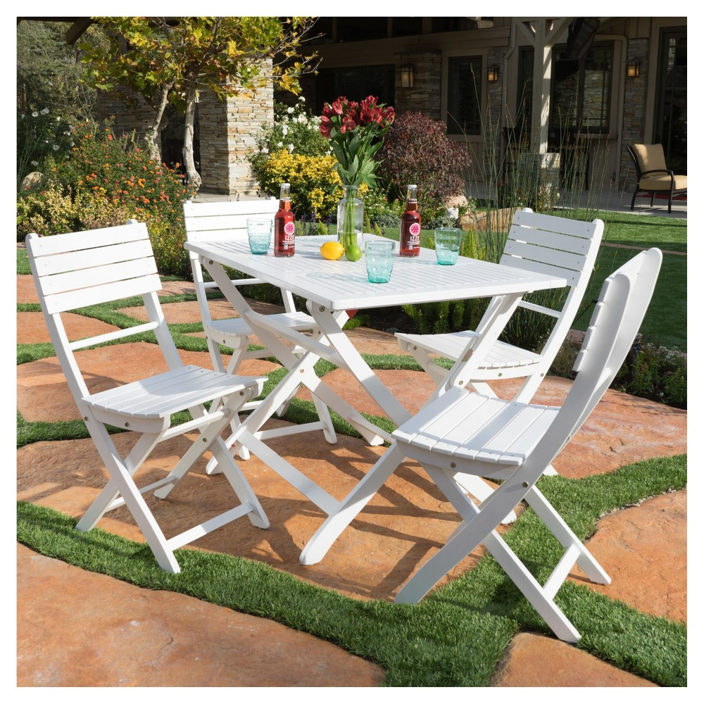 Positano 5pc Square Acacia Wood Foldable Dining Set - White Finish - Christopher Knight Home