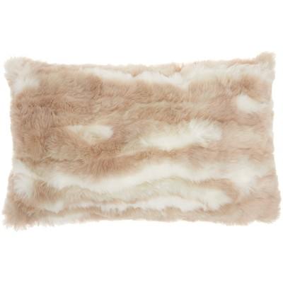 Faux Fur Angora Rabbit Throw Pillow - Mina Victory