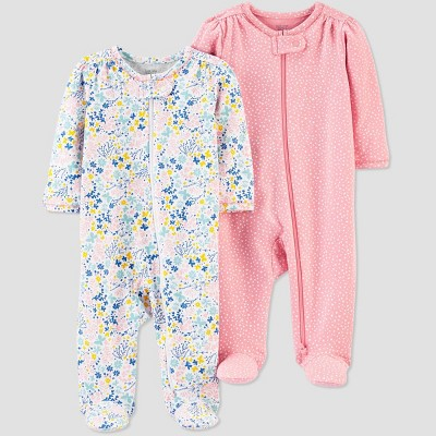 Baby Girls' 2pk Floral Sleep N' Play - Just One You® made by carter's Pink 3M
