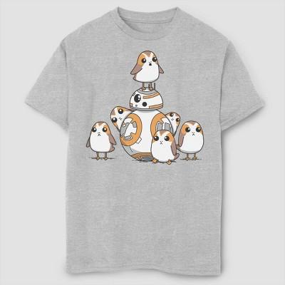 Boys' Star Wars Cute And Porgs T-Shirt - Gray