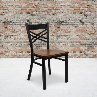 Flash Furniture Black ''X'' Back Metal Restaurant Chair