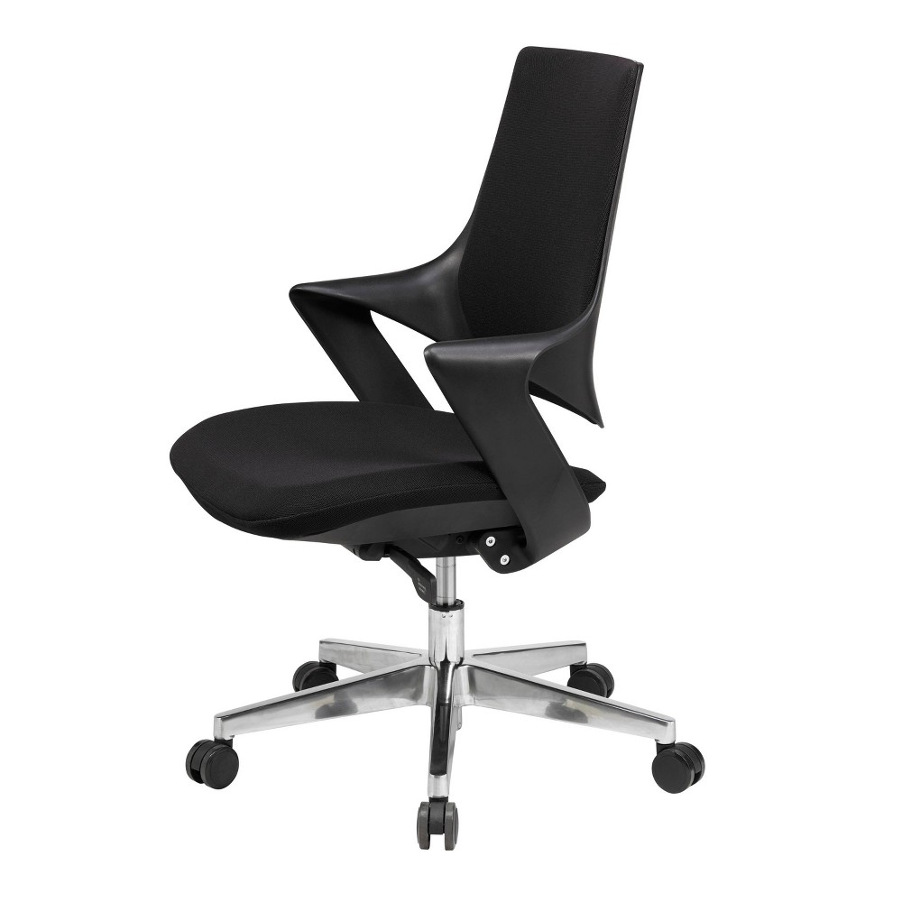 Mia Office Chair Poly Shell and Fabric Black - Olio Designs