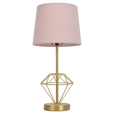 Wire Diamond Table Lamp Pink/Gold - Pillowfort™ - image 1 of 2