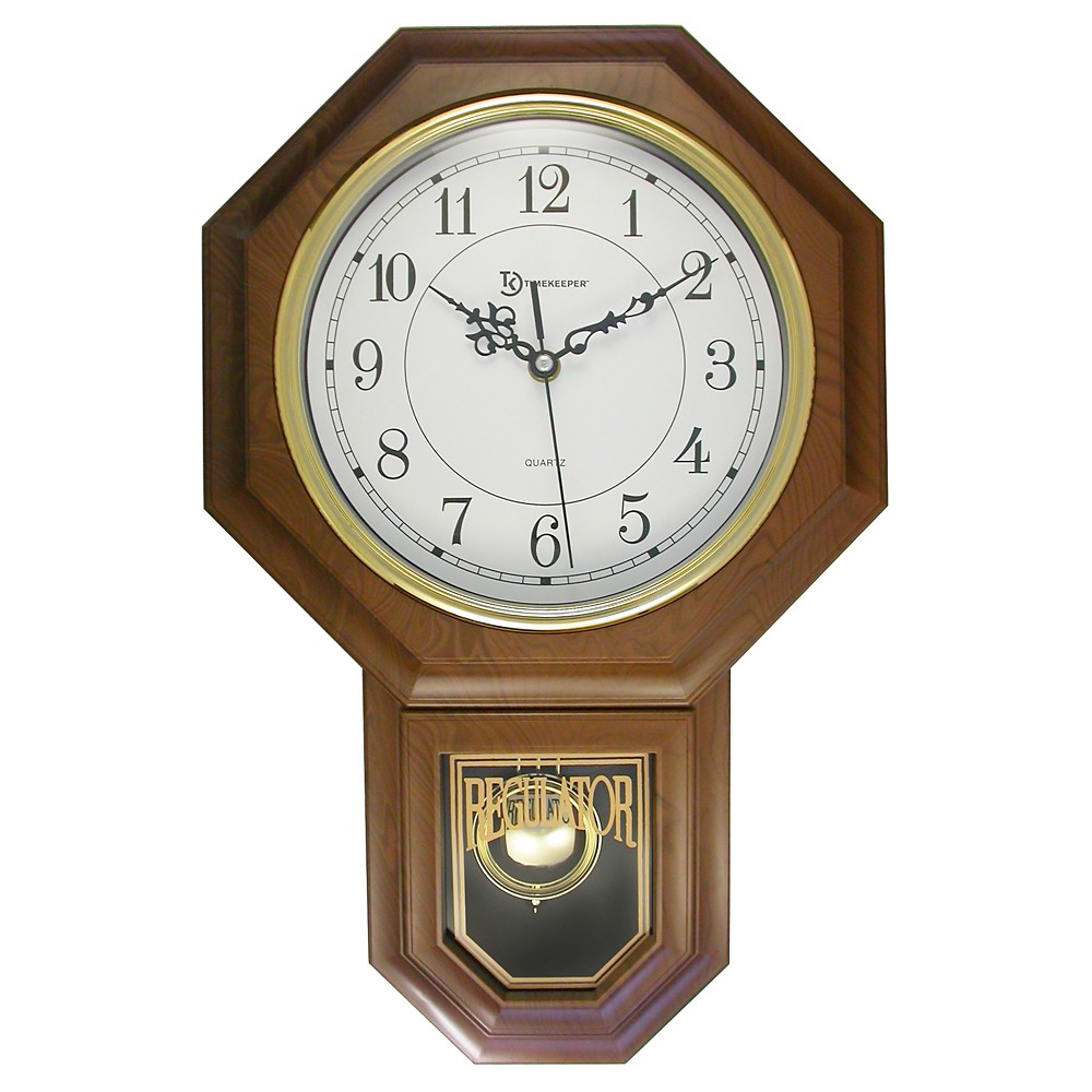 Image of Essex Pendulum Wall Clock Brown/Brass - TimeKeeper