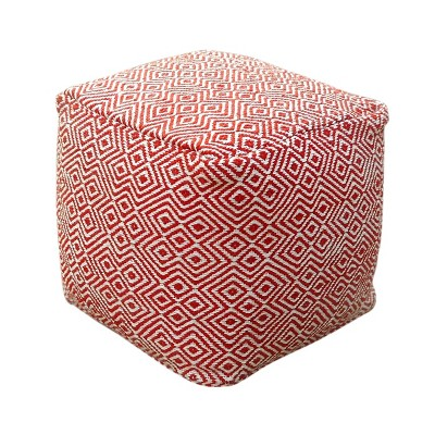 Banner Modern Boho Pouf Ivory/Red - Christopher Knight Home