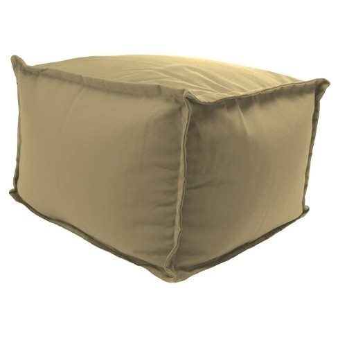 Outdoor Bean Filled Pouf/Ottoman In Sunbrella Canvas Heather Beige  - Jordan Manufacturing - image 1 of 3
