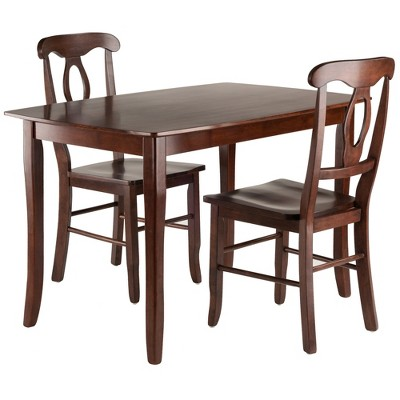 3pc Inglewood Dining Table With 2 Key Hole Back Chairs Walnut - Winsome