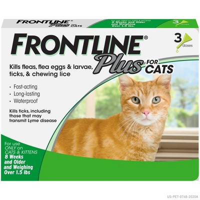 Frontline Plus Flea and Tick Treatment for Cats and Kittens - 8 weeks and older - 3 doses