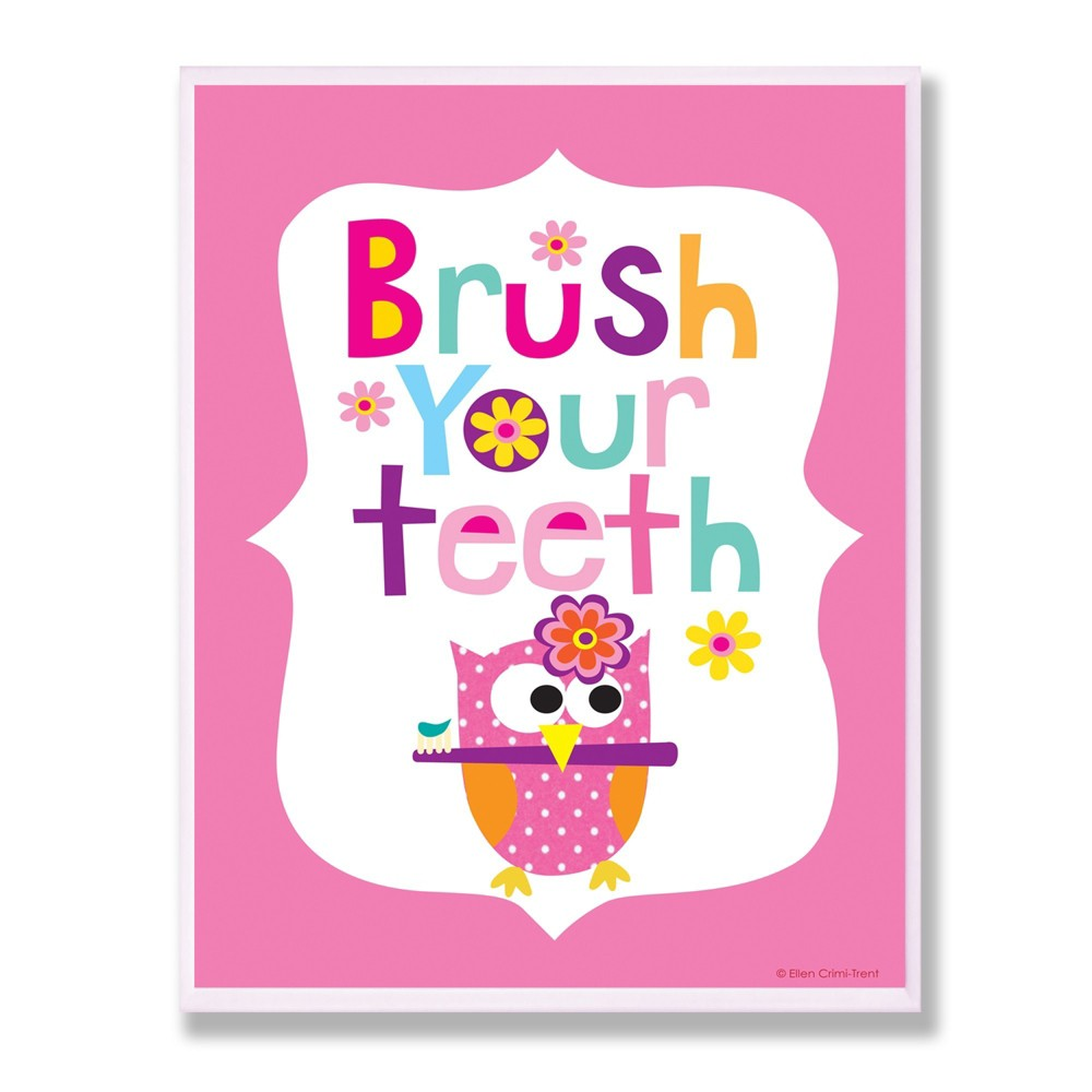 Brush Your Teeth With Owl On Pink Back Background Wall Plaque Art (10x15
