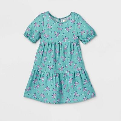 Toddler Girls' Floral Tiered Short Sleeve Dress - Cat & Jack™ Ocean Green