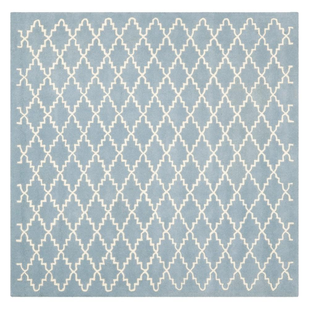 7'X7' Quatrefoil Design Tufted Square Area Rug Blue/Ivory - Safavieh