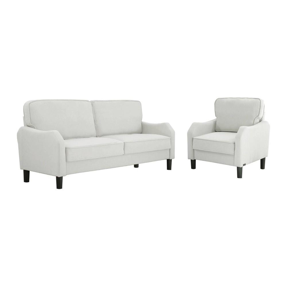 Image of 2pc Mallory Fabric Sofa & Armchair Set Gray - Abbyson Living