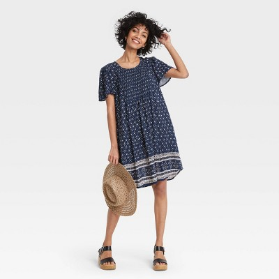 Women's Printed Short Sleeve Smocked Front Dress - Knox Rose™ Navy