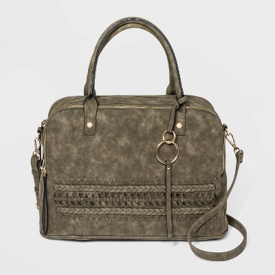 VR NYC Zip Closure Woven Braid Satchel Handbag - Olive Green