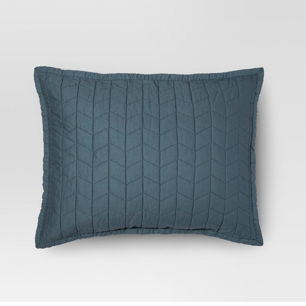 Blue Vintage Washed Solid Sham (Standard) - Threshold
