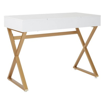 Juliette Vanity Desk Gold Legs with Top White - OSP Home Furnishings