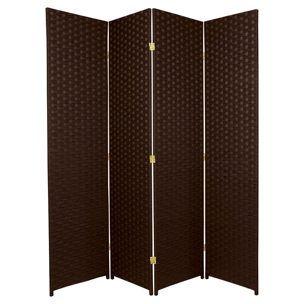 6 ft. Tall Woven Fiber Room Divider - Dark Mocha (4 Panels), Brown