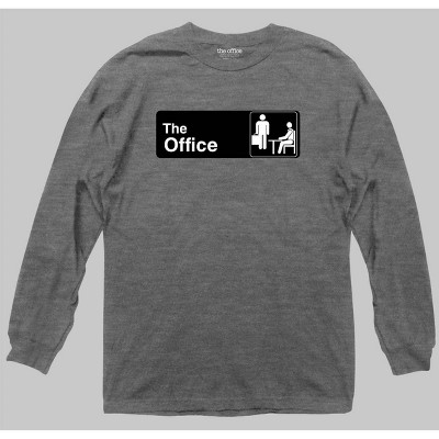 Men's The Office Long Sleeve Graphic Crewneck T-Shirt - Gray