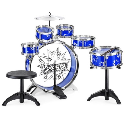 Best Choice Products 11-Piece Kids Starter Drum Set w/ Bass Drum, Tom Drums, Snare, Cymbal, Stool, Drumsticks
