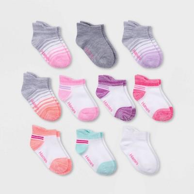 Hanes Girls' 10pk Heel Shield Athletic Socks - Colors May Vary