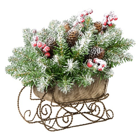 "10"" Dunhill Fir Sleigh with Snow, Red Berries and Cones Artificial Arrangement Green - image 1 of 2"