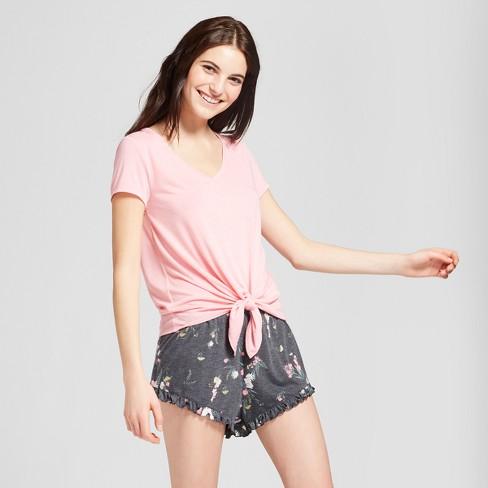 56666eb320 Women s Pink Floral Tie Front Shorts   T-shirt Pajama Set - Xhilaration™