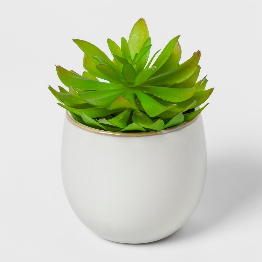 Faux Plant in White Pot - Threshold, Multi-Colored