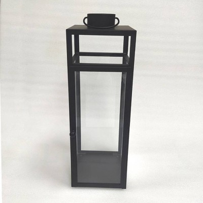 "24"" x 8"" Decorative Metal Lantern Candle Holder Black - Threshold™"