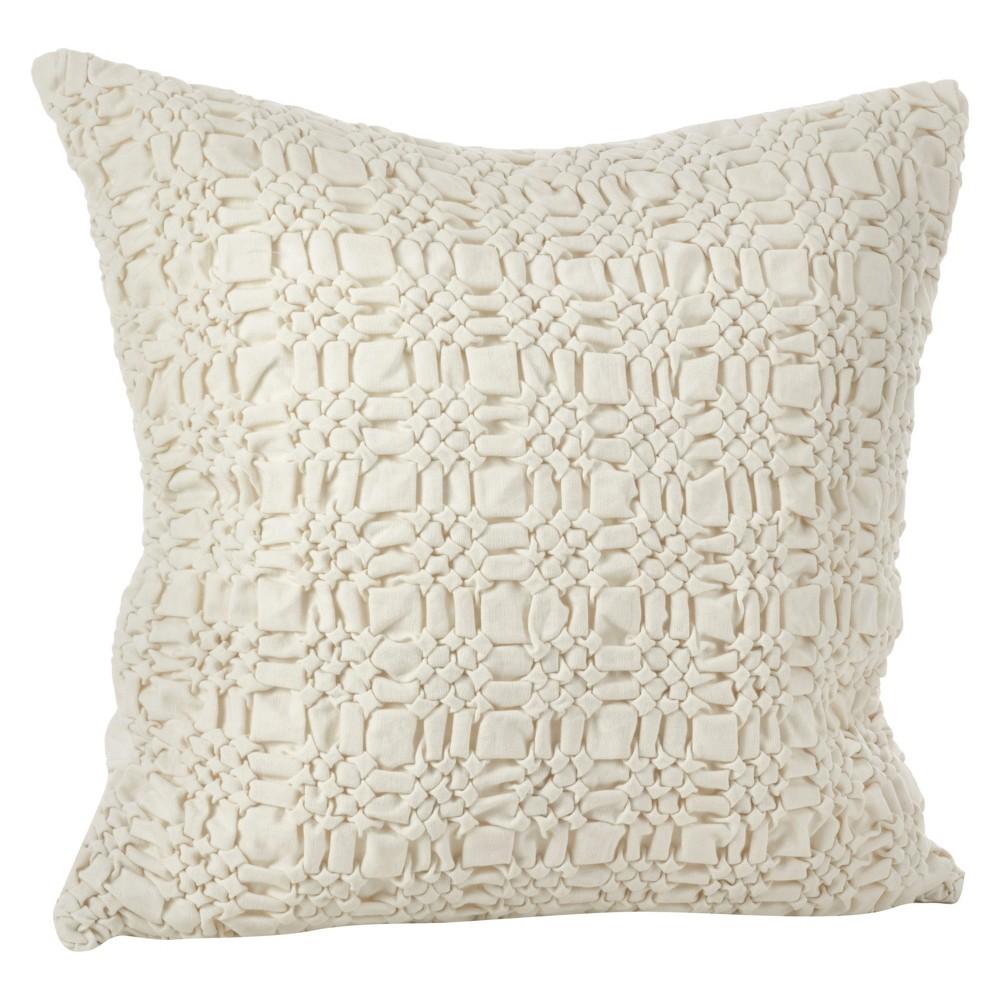 Natural Brisbane Smocked Design Throw Pillow (20) - Saro Lifestyle