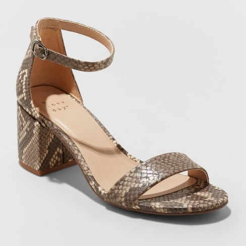 Women's Michaela Mid Block Heel Sandal Pumps - A New Day™ - image 1 of 4