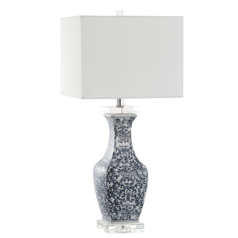"28"" May Ceramic/Crystal LED Table Lamp Blue (Includes Energy Efficient Light Bulb) - JONATHAN Y - image 1 of 4"