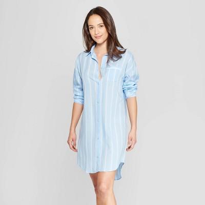 Women's Mini Striped Simply Cool Button-Up Sleep Shirt - Stars Above™ Blue M