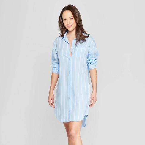 Women s Mini Striped Simply Cool Button-Up Sleep Shirt - Stars Above™ Blue d7b9a7e56