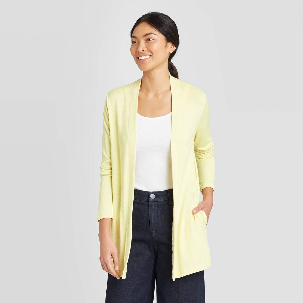 Women's Long Sleeve Open Neck Cardigan - A New Day Light Green XL was $24.99 now $17.49 (30.0% off)