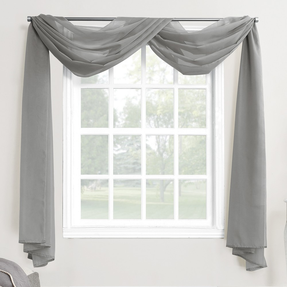 Emily Sheer Voile Window Curtain Scarf Charcoal (Grey) 59