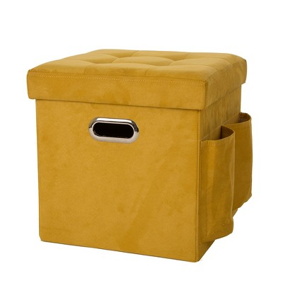 Faux Suede Foldable Cube Storage Ottomans   Yellow   Glitzhome