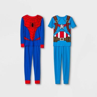 Boys' Marvel 4pc Pajama Set - Blue