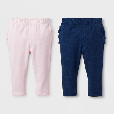 Baby Girls' 2pk Ruffle Leggings Set - Cat & Jack™ Warm Sand/Centennial Blue 6-9M