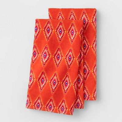 2pk Diamond Terry Hand Towels Coral - Opalhouse™